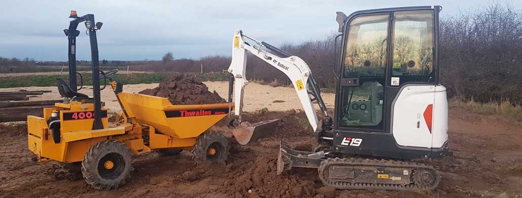 Mini Digger Driver hire with Digger, Dumper and Wacker Plate etc